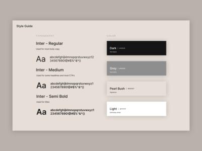 Style Guide brand guide brand guidelines branding brand design minimalistic minimal color palette colors typogaphy app design web design design ui style guide styleguide