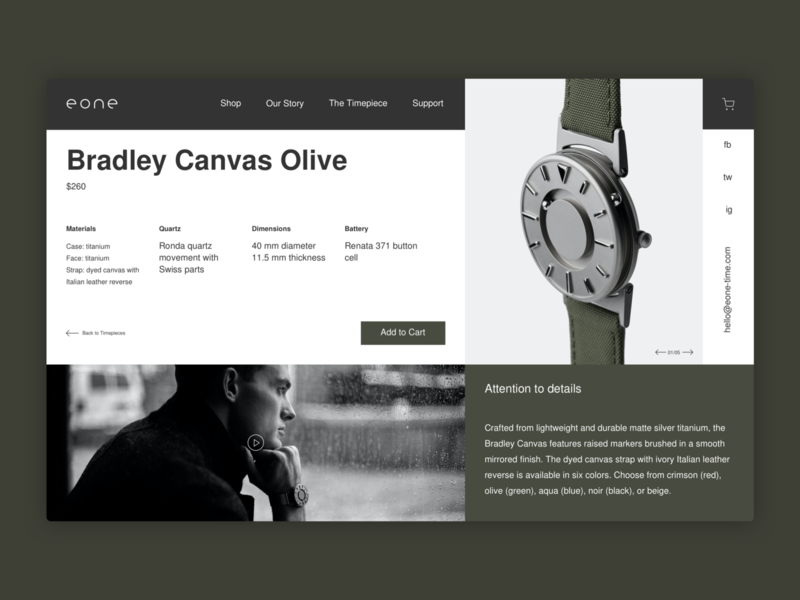 Eone Time Concept minimalistic timepiece accessory watches watch ecommerce design store ecommerce web design webdesign web minimal design ux ui