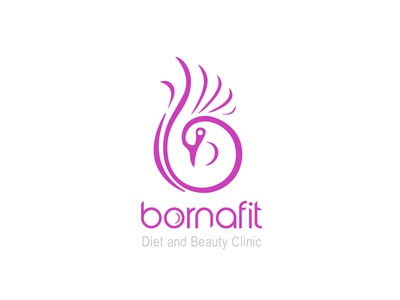 Bornafit Logo Design pink typography bird women clinic beauty diet logo design