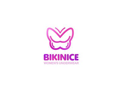 Bikinice Logo underwear butterfly women beauty branding typography logo design