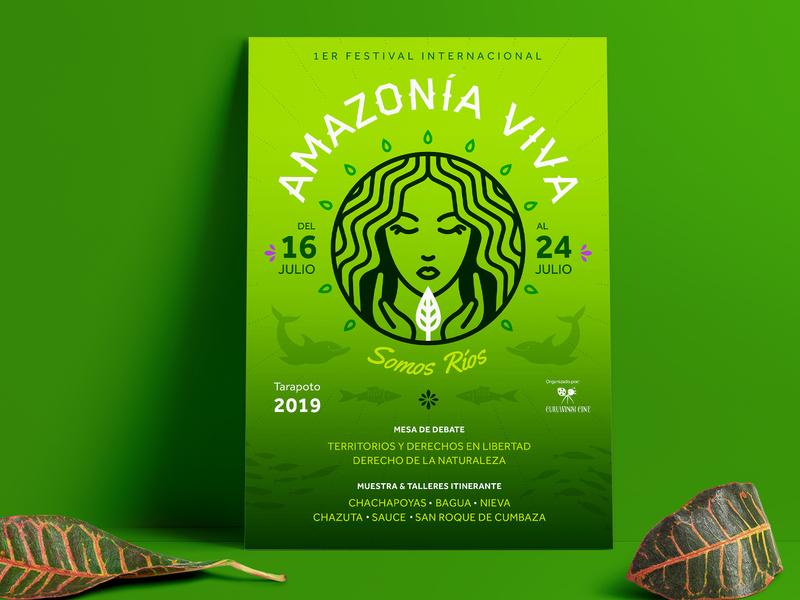 Amazonía Viva ai gradient illustration typography icon branding logo design