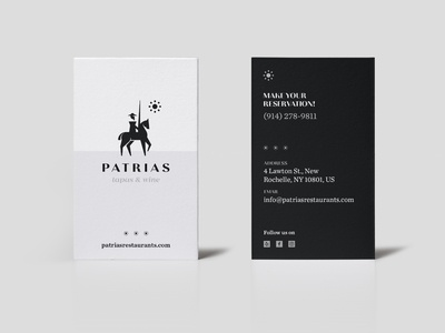 Patrias Restaurant card