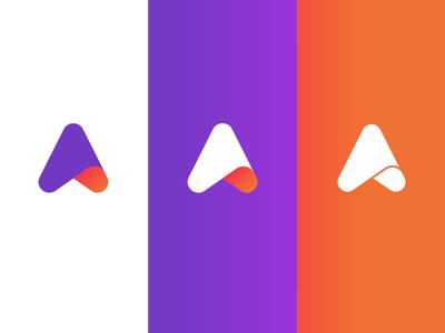 Inspire Isotipe arrow illustration gradient vector icon digital minimal logo design branding