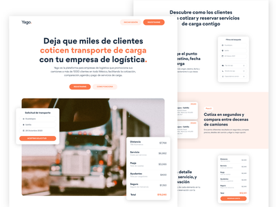 Yago, Marketing Website landing design landingpage marketing design system design components webdesign web design website design agency business consulting logistic website uidesign uxdesign illustration material ui software company creative agency