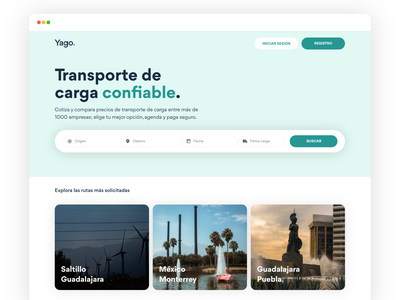 Yago, a logistic platform concept website web design landing page software company searching business material ui search bar search platform webapp logistics company material design uxdesign airbnb travel uidesign logistic