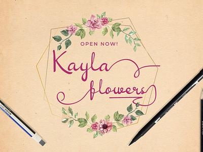Kayla Flower Shop (design concept) design branding illustration logo display font