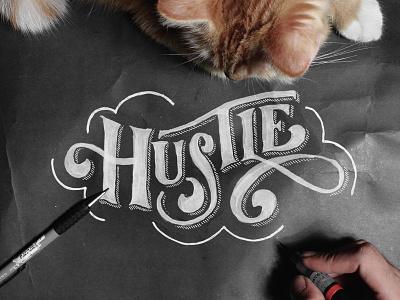 Hustle - Video Process vintage typography logo lettering instagram ink hipster handmade handlettering brush