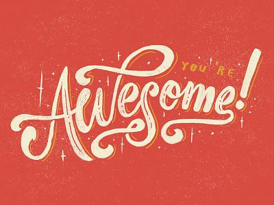 Awesome! vintage typography logo lettering instagram ink hipster handmade handlettering brush