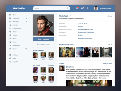 VK Redesign vk flat interface ui clean website redesign ux web social network facebook