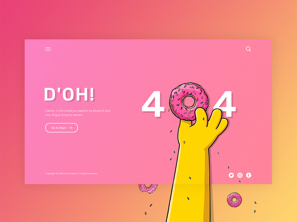 404 the Simpsons theme 404 error page 404 error 404 design ux ui ui  ux design