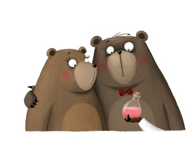Snorybear's parents bear animal illustration childrens book