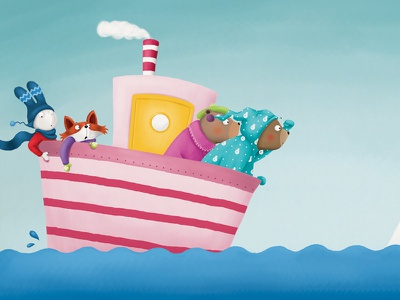 Off to the North Pole childrens book digital illustration snorybear funny animals north pole ship picture book