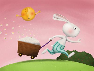 Rabbit picture book rabbit camomile funny animals snorybear digital illustration childrens book