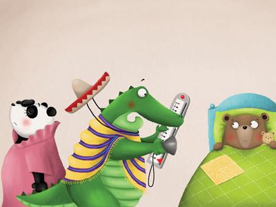 The drama :) picture book crocodile panda funny animals snorybear digital illustration childrens book