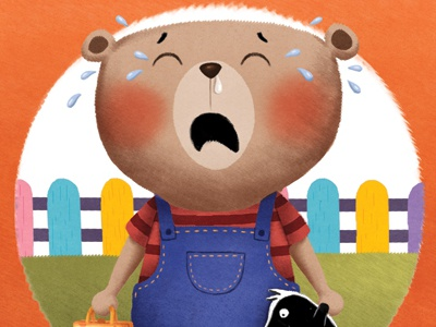 I don't want to go to kindergarden! picture book childrens book funny crying bear childrens illustration bear character