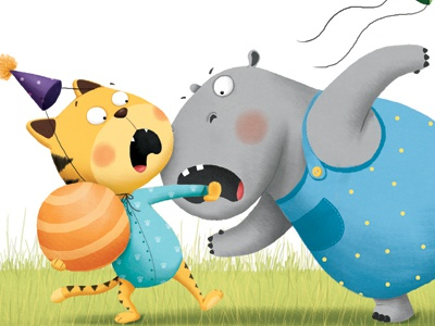 Angry hippo bites funny animal characters hippo tiger childrens illustration childrens book picture book