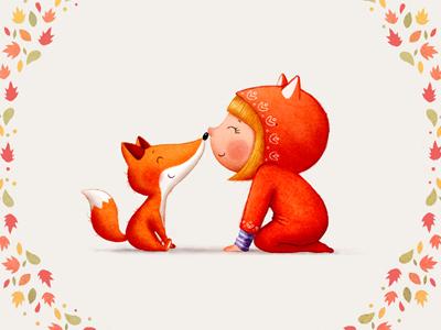 Girl and a fox little fox little girl childrens illustration autumn