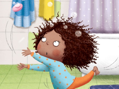 I scrub my hands without a hitch girl character funny character digital art childrens illustration picture book