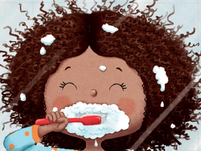 Brushing my teeth is really a cinch brushing teeth girl character funny character digital art childrens illustration picture book