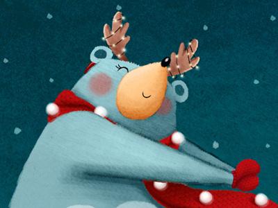 Happy winter holidays snow happy dancing winter blue bear