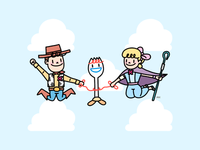 TOGETHER4 cowboy jump cloud sky forky together bopeep woody toystory toy story planet alien disney xmodel scientificanalog scianalog photoshop design illustration adobe