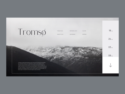 North of Norway bw monochrome web clean ui minimal flat typography interface landing travel