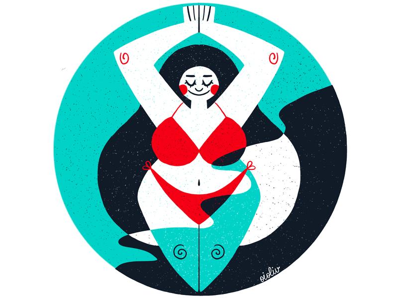 Swimming Lady swimming ilustracja ipadpro procreate drawing illustration