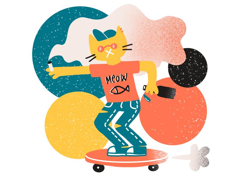 Sk8r Kat skateboard skater cat ilustracja procreate illustration drawing