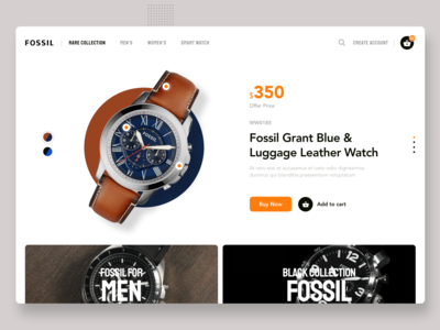 Fossil Ecommerce Website - Landing page