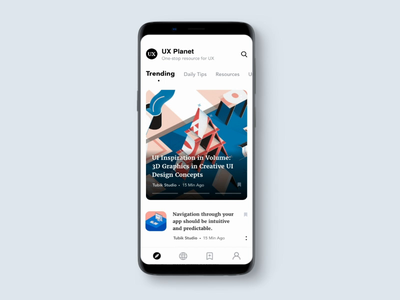UX Planet App Interaction concept attempt add bookmark scroll animation creative dribbble tabs homepage aftereffects animated ios andoid interactive animation app landingpage ux ui