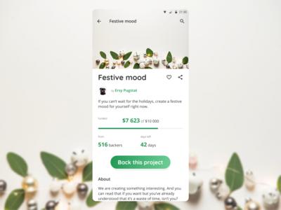 DailyUI 032 - Crowdfunding Campaign festive crowdfunding campaign design mobile app design dailyui