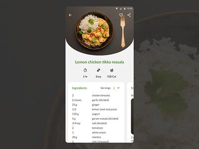DailyUI 040 - Recipe recipes recipe design mobile app design dailyui