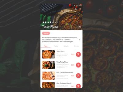 DailyUI 043 - Food/Drink Menu pizza food and drink drinks menu food menu design mobile app design dailyui