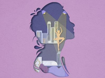 剪纸风插画~城市舞者