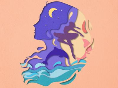 剪纸风插画~海洋舞者