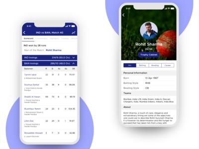 Scorecard & Player Profile Screens