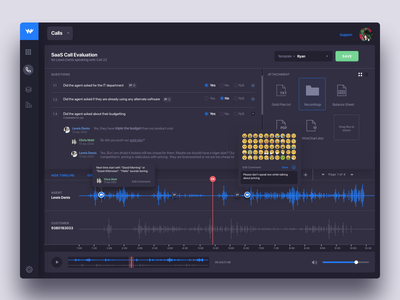 Nightingale: Review Call Script Screen for Call Center Software increase mrr analysis reporting ivr call scripting call logging dialer call recording commenting script outbound inbound call centre call center call light ui dark ui user interface saas