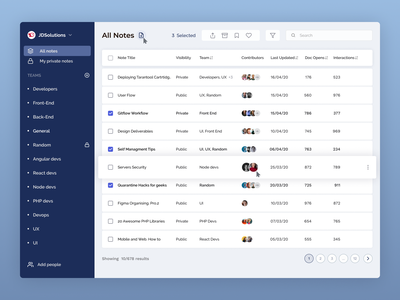 Contledge: List of Notes for Content Collaboration Tool docment collaboration tool documents cloud app notebook notes contributor list view data b2b collaboration document management user interface saas product design