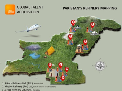 Pakistan's refinery mapping icon typography vector city buildings logo concrete branding poster design