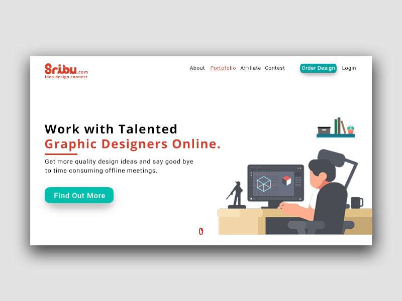 Sribu - Redesign Landing Page website web design web ux uiux ui trends site simple minimalism logo homepage home page design clean landing page redesign designer debut