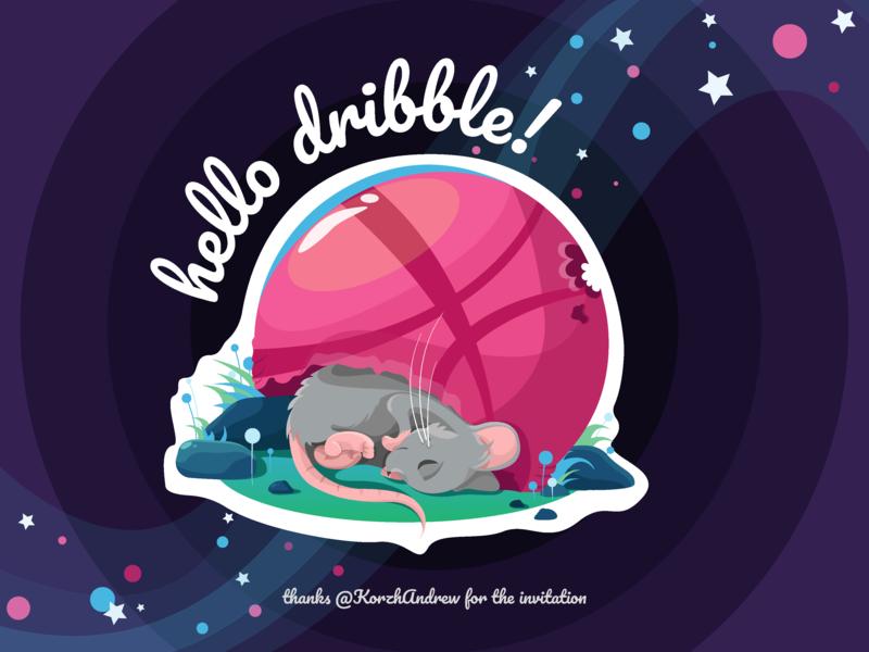 Hello dribbble! animal mouse first shot dribbble ball hello dribbble children art character vector artwork digital art adobe illustrator vector illustration