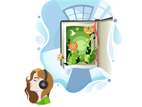 "illustration ""listen audiobooks"""