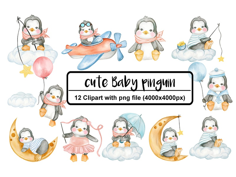 cute penguin baby illustration watercolor