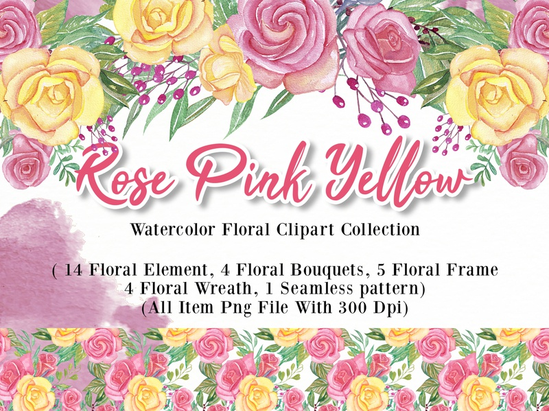 rose pink yellow watercolor Illustration set