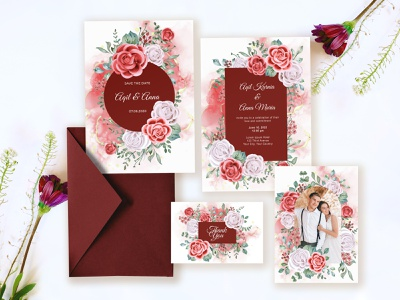 wedding invitation with romantic red rose template spring romantic elegant template rose red illustration floral invitation design watercolor