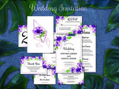 "wedding invitation set ""theme anemone purple"""
