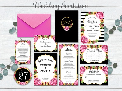 "Wedding invitation set ""rose pink modern"""