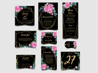 set of wedding invitation with  watercolor rose pink gold