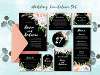 lovely wedding invitation set with watercolor floral