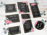 Set of lovely watercolor rose pink wedding invitation